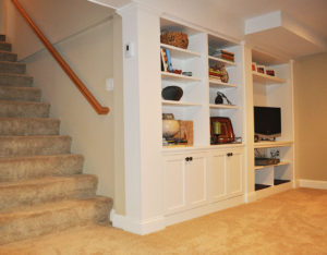 Finished Basement Custom Built Ins